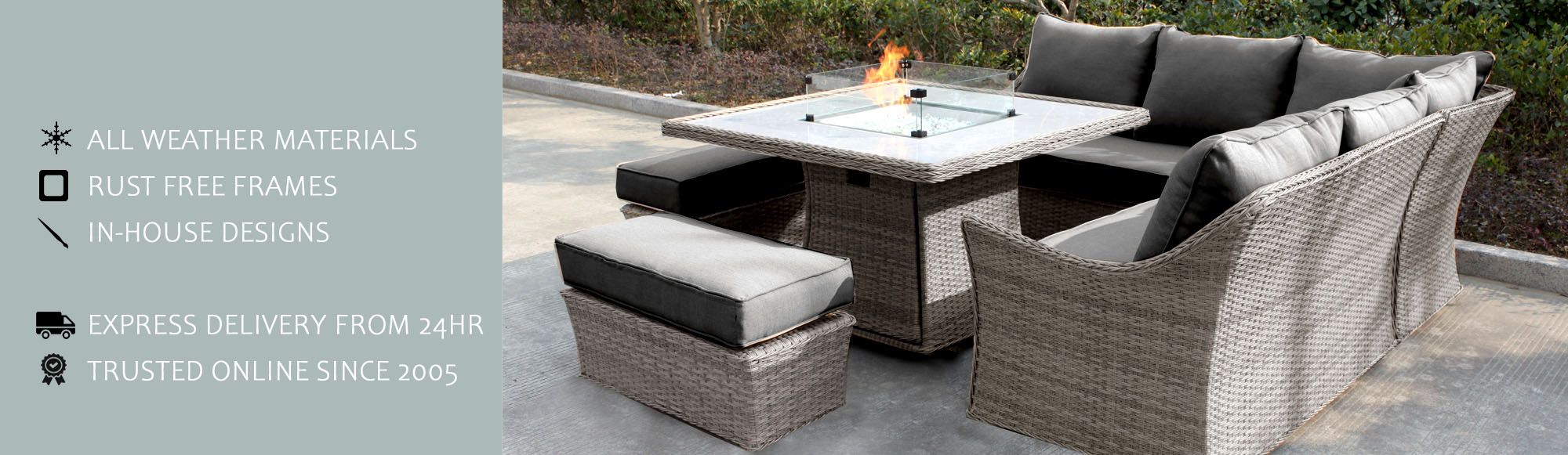 Firepit Table Sofa Set
