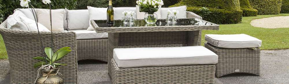 Garden Furniture Sets with 2 Cushion Covers